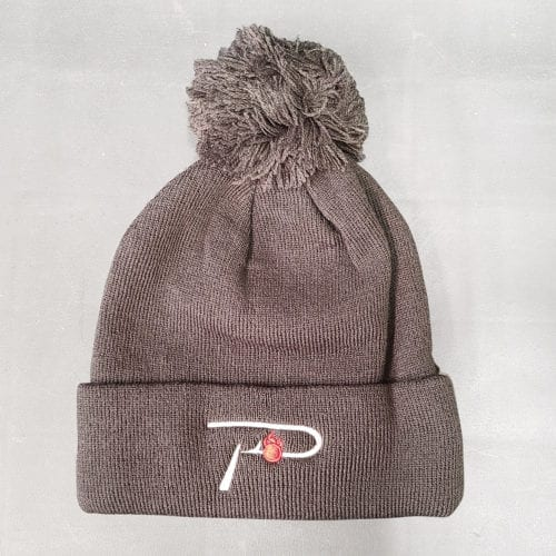 """P"" White Embroidered Slate Grey Beanie"