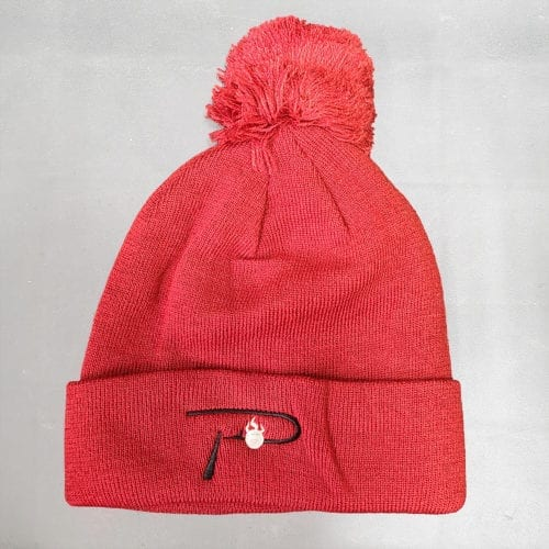 """P"" White Embroidered on red Beanie"